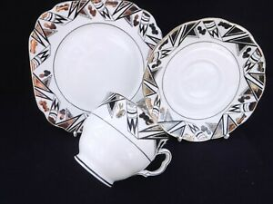 Royal Albert JAZZ Art Deco Silver Lustre Tea Trio, Made for Princess Mary