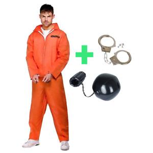 Mens Convict Orange Jumpsuit Costume: Prisoner Handcuffs Ball Chain Party Outfit