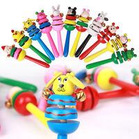 Cartoon Kinder Baby Holz Rasseln Klingel Musical Shaker Spielzeug Handglocke Neu