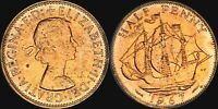 1967 GREAT BRITAIN HALF 1/2 PENNY BU UNCIRCULATED TONED COIN IN HIGH GRADE