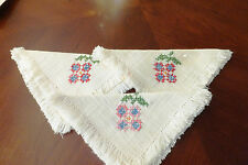 Vintage lot 3 hand embroidered cross stitched linnen handkerchiefs napkins doily