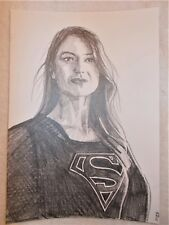 A4 Art Graphite Pencil Sketch Drawing Melissa Benoist as Supergirl Poster c