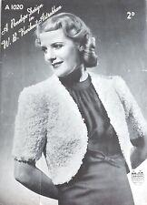 Vintage 1940's Knitting Pattern Ladies Bolero/Shrug Jacket Astrakhan Wool A1020