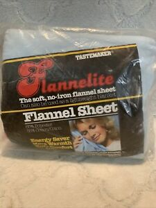 VTG Tastemaker Flannelite Flannel Sheet Light Blue Queen Flat NOS