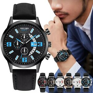 Men's Casual Fashion Quartz Leather Strap Watch Analog New Fashionable