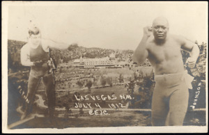 JACK JOHNSON-FIREMAN JIM FLYNN REAL PHOTO POSTCARD (1912)