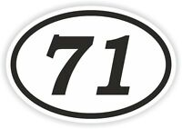 71 SEVENTY-ONE NUMBER OVAL STICKER bumper decal motocross motorcycle Aufkleber