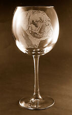 New! Etched Boxer on Large Elegant Wine Glasses - Set of 2