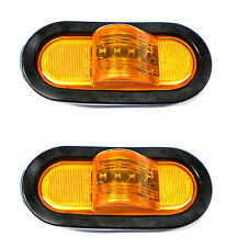 "TWO - 6"" Amber LED Mid Ship Lights Multi Function Park Turn Trailer Truck Semi"