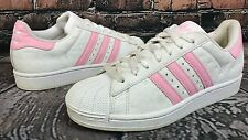Adidas White & Pink Leather Shell Toes - Women's Size 8 - Art: 132370 10/04