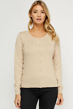 Women Ex H&M Cotton Fine Knit Button Cardigan Round Neck Long Sleeve Tops
