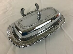 Vintage Silver Butter Dish Ironware Made in USA