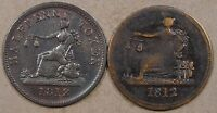Lower Canada 1812 Half Penny Tokens LC-46A2 + LC-48C3(Tiffon) Mid Grades as Pict