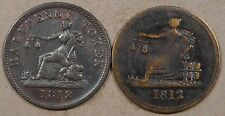 Lower Canada Half Penny Tokens LC-46A2 + LC-48C3(Tiffon) Mid Grades as Pictured
