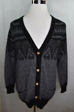 Alpaca Connection Cardigan Sweater Peruvian Handmade Bone Buttons Large Tribal