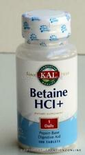1 Bottle  KAL Betaine HCL + 100 Tablets Pepsin based Digestive Aid