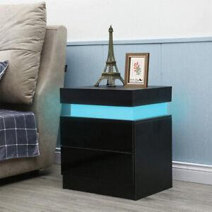 Hochglanz Front 2 Schubladen Nachttisch Schrank LED Nachttisch Aufbewahrungseinh
