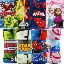 CHILDRENS CHARACTER FLEECE BLANKETS KIDS BEDROOM GIFT BOYS GIRLS THROW BED ROOM