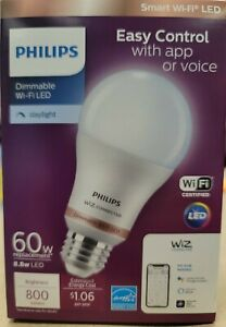 Philips Smart Wi-Fi LED Dimmable Daylight Wiz Connected 8.8W 60W. **BRAND NEW**