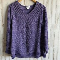 Coldwater Creek Purple Cable Knit Sweater