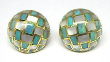 Tiffany & Co. 18K Gold Mother of Pearl & Opal Inlaid Dome Checkerboard Earrings