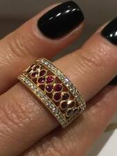 CLEARANCE 18CT ROSE GOLD 1.10CT RUBY DIAMOND HALF ETERNITY DRESS RING LCL045