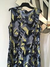GORDON SMITH Navy Blue Lime Green White Sleeveless Crushed Stretch Dress 12 14