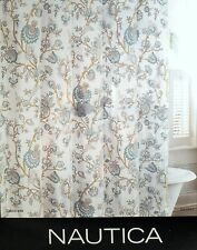 Nautica Shower Curtain Floral Cream Teal Grey Tan 100% Cotton
