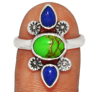 Southwest Style - Copper Green Turquoise - Arizona Silver Ring s.8 BR32791