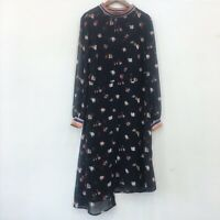 AUTH Ted Baker LUELA Long Sleeved Midi Dress Balck Size 1, 2,3