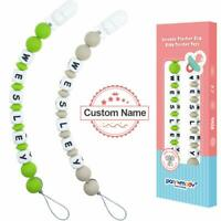2PC Personalised Dummy Clip with Name Customised Bead Pacifier Chain Shower Gift