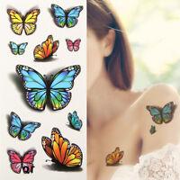 Flower Butterfly Temporary Tattoo Sticker Removable Waterproof 3D Fake Body Art