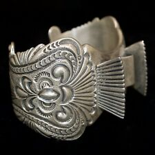 Ahasteen Sterling Silver Navajo Watch Cuff, Old Pawn/Estate