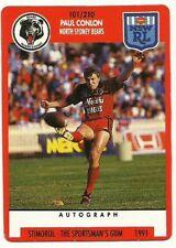 1991 NRL SCANLENS STIMOROL NORTH SYDNEY BEARS PAUL CONLON #101 CARD