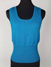 George Women's Electric Blue Knit Sleeveless Tank Top M 8-10 Vibrant Turquoise