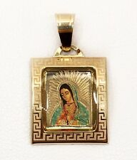 14K Yellow Gold Enamel Virgin Mary Guadalupe Religious Pendant Greek Key 19 MM