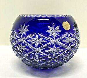 Hungary Bohemian Crystal Cobalt Blue Large Rose Bowl Cut to Clear