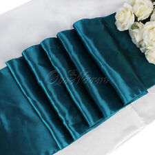 1PCS Teal Blue Satin Table Runner 15cm x 275cm For Xmas Wedding Party Home Decor