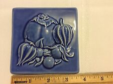 Vintage Original Style Persimmon & Cape Gooseberries Blue Border Decorative Tile