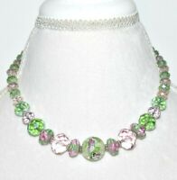 Vintage Uranium Vaseline Glass Necklace Beaded Toggle Clasp Collar 19.25""