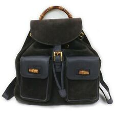 Gucci Back Pack Bamboo  Black Suede Leather 1711670
