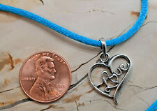 "Love Filled Heart .925 Sterling Silver Necklace Blue Silk Cord  17"" + 1.5"""