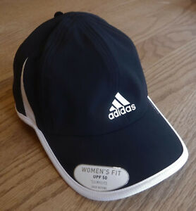 "NWT ADIDAS ClimaLite Womens ""SuperLite"" Adj Run/Tennis Hat-OSFM @$24 BLACK/WHITE"