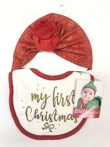New! Baby Essentials Baby Girls' First Christmas Bib & Turban Hat Set Red/white