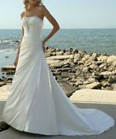 Long Satin A-line Strapless New Wedding Dress Bridal Gown Size 6 8 10 12 14 16