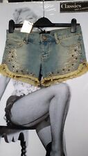 "WOMEN SEXY SHORTS/Hot Pants ""G.SEL""EMBELLISHED FADED BLUE SLIM FIT STRETCH  S 25"