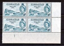 GIBRALTAR 1954 ROYAL VISIT PLATE BLOCK OF 4 MNH