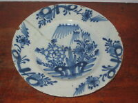 ANTIQUE 18th century DELFT PLATE ORIENTAL INSPIRED DECORATION AF