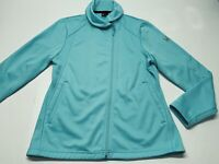 Women's Spyder Full Zip Jacket Mid Weight Aqua Blue Cross Zip Size Large