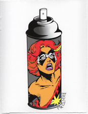 MR CLEVER ART CONTEMPORARY CRYING GIRL GRAFFITI SPRAY CAN #3 abstract urban deco